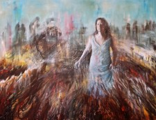 "Between The Days oil, acrylic on canvas, 70""x58"""