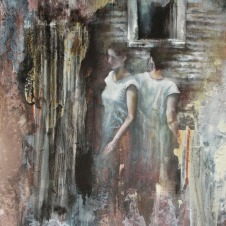 "Impasse oil, conte, graphite, acrylic, pigmented water on clay board, 12""x16"""