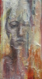 "Disintegration Portrait (series) oil, graphite, rice paper, acrylic on wood block, 3""x6"""