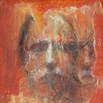 """Parallel Portrait (series) oil, charcoal, rice paper, acrylic on panel, 4""""x4"""""""