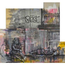 "The Passing oil, charcoal, resin sand, acrylic, silver gelatin print on multiple canvas and wood panels, 60""x42"""