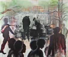 "Negotiations graphite, acrylic, silver gelatin print on wood panel, 20""x16"""