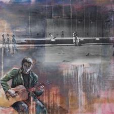 "Solo Listener graphite, acrylic, silver gelatin print on canvas, 22""x18"""